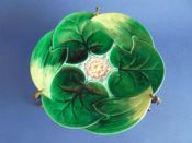 Rare George Jones Majolica 'Water Lily' Centrepiece with Bronze Mount c1870